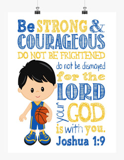 Golden State Warriors Christian Sports Nursery Decor Art Print - Be Strong & Courageous Joshua 1:9 Bible Verse