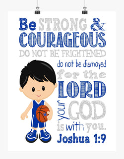 Kentucky Wildcats Christian Sports Nursery Decor Art Print - Be Strong & Courageous Joshua 1:9 Bible Verse