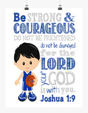Kentucky Wildcats Christian Sports Nursery Decor Art Print - Be Strong & Courageous Joshua 1:9
