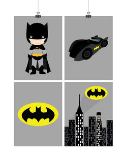 Batman Superhero Nursery Decor Art Set of 4 Prints - Batman, Batmobile, Cityscape and Bat Symbol