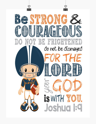 Personalized Chicago Bears Christian Sports Nursery Decor Print - Be Strong and Courageous Joshua 1:9