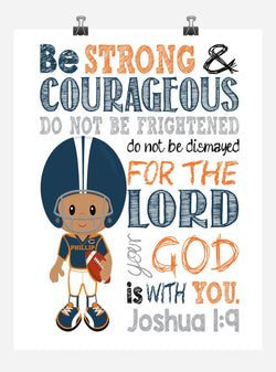 African American Chicago Bears Personalized Christian Sports Nursery Print - Be Strong & Courageous Joshua 1:9