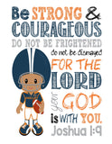 African American Chicago Bears Customized Christian Sports Nursery Decor Art Print - Be Strong & Courageous Joshua 1:9 Bible Verse - Playroom or Kid's Room