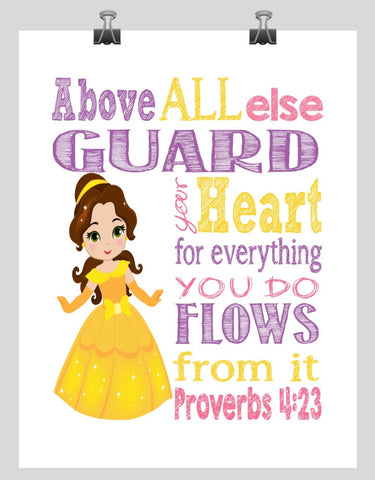 Belle Christian Princess Nursery Decor Wall Art Print - Above all else Guard your Heart - Proverbs 4:23