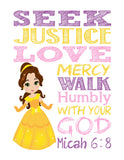 Princess Set of 4 - Christian Nursery Decor Wall Art Print - Jasmine, Cinderella, Mulan and Belle - Bible Verse - Multiple Sizes