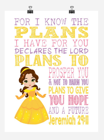 Belle Christian Princess Nursery Decor Wall Art Print - For I Know The Plans I Have For You - Jeremiah 29:11 Bible Verse - Multiple Sizes