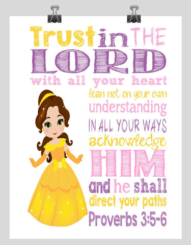 Belle Christian Princess Nursery Decor Wall Art Print - Trust in the Lord with all your heart - Proverbs 3:5-6