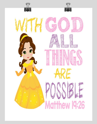 Belle Christian Princess Nursery Decor Wall Art Print - With God all things are possible - Matthew 19:26