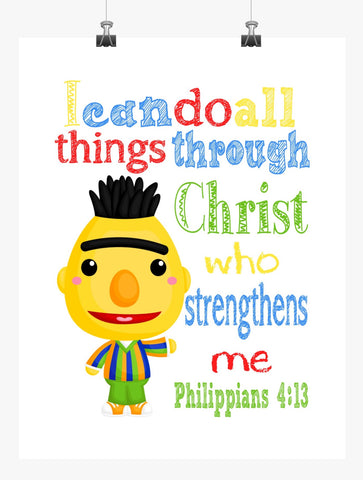Bert Sesame Street Christian Nursery Decor Print, I Can Do All Things Through Christ, Philippians 4:13