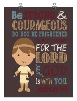 Biblical Superhero - Christian Wall Art Print David and Goliath Nursery Decor - Be Strong & Courageous Joshua 1:9 Bible Verse