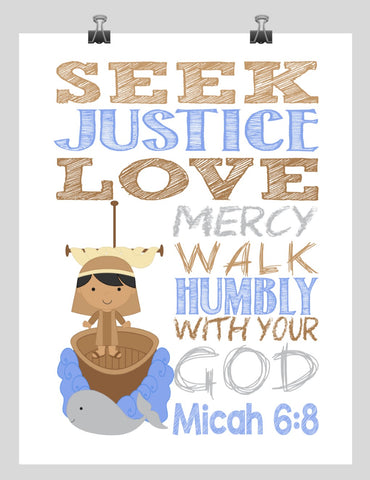 Biblical Christian Superhero Nursery Print Jonah and the Whale - Seek Justice Love Mercy Walk Humbly with your God - Micah 6:8