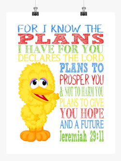 Big Bird Sesame Street Christian Nursery Decor Print, For I Know The Plans I Have For You, Jeremiah 29:11