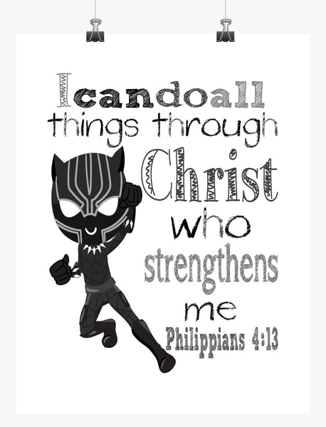 Black Panther Christian Superhero Nursery Decor Art Print - I Can Do All Things Through Christ Who Strengthens Me - Philippians 4:13