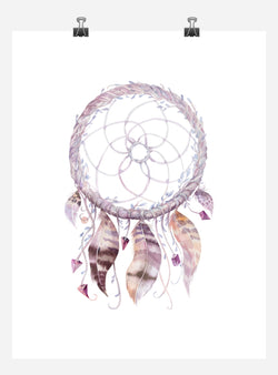Boho Dreamcatcher Tribal Watercolor Nursery Wall Art Print - Multiple Sizes