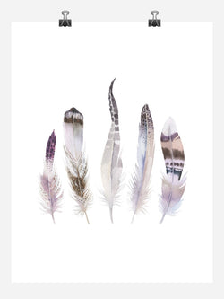 Boho Feathers Tribal Watercolor Nursery Wall Art Print - Multiple Sizes