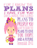 Bubbleisha Shopkins Christian Nursery Decor Print, For I Know The Plans I Have For You - Jeremiah 29:11