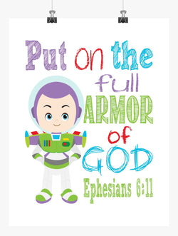 Buzz Lightyear Toy Story Christian Nursery Decor Print, Put on the full Armor of God , Ephesians 6:11