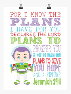 Buzz Lightyear Toy Story Christian Nursery Decor Print, For I Know The Plans I Have For You, Jeremiah 29:11