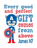 Captain America Superhero Christian Nursery Decor Print - Every Good and Perfect Gift Comes From Above - James 1:17