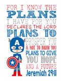 Captain America Superhero Christian Nursery Decor Print, For I Know The Plans I Have For You, Jeremiah 29:11