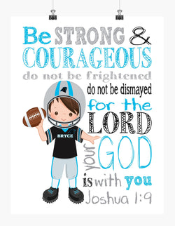Personalized Carolina Panthers Christian Sports Nursery Decor Print - Be Strong and Courageous Joshua 1:9