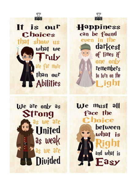 Harry Potter Inspirational Quotes Set of 4 Nursery Decor Prints on Parchment