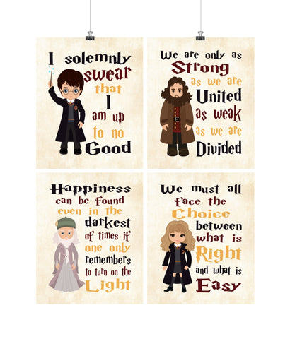 Harry Potter Inspirational Quotes Nursery Decor Set of 4 Prints, Dumbledore, Hagrid and Hermione on Parchment
