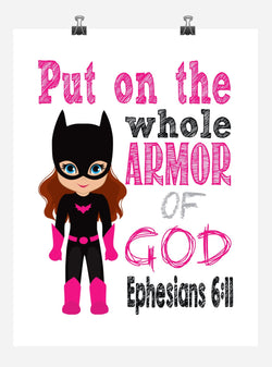 Batgirl Superhero Christian Nursery Decor Print - Put on the whole Armor of God - Ephesians 6:11