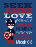 Captain America Superhero Christian Nursery Decor Print - Seek Justice Love Mercy - Micah 6:8