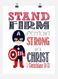 Captain America Superhero Christian Nursery Decor Print - Stand Firm Remain Strong - 1 Corinthians 16:13