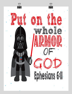 Darth Vader Christian Star Wars Nursery Decor Art Print, Put on the whole Armor of God - Ephesians 6:11