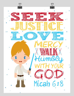 Luke Skywalker Christian Star Wars Nursery Decor Print, Seek Justice Love Mercy - Micah 6:8