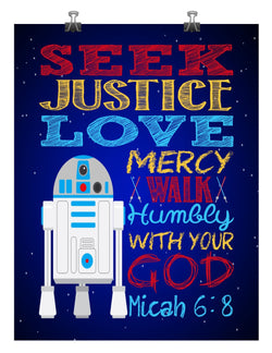R2D2 Christian Star Wars Nursery Decor Art Print, Seek Justice Love Mercy - Micah 6:8 Bible Verse