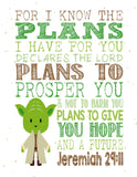 Star Wars Christian Nursery Decor Set of 4 Prints with Luke Skywalker, Yoda, Darth Vader and R2D2