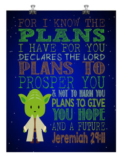 Yoda Christian Star Wars Nursery Decor Art Print - For I Know The Plans I Have For You, Jeremiah 29:11