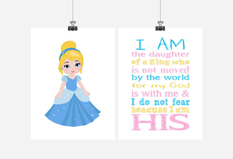 Cinderella Princess ChristianNursery Decor Set of 2 Prints - I Am The Daughter Of A King