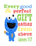 Sesame Street Christian Nursery Decor Set of 4 Prints, Big Bird, Cookie Monster, Elmo and Snuffleupagus with Bible Verses