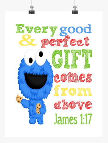 Cookie Monster Sesame Street Christian Nursery Decor Print, Every Good and Perfect Gift Comes From Above - James 1:17