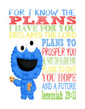 Cookie Monster Sesame Street Christian Nursery Decor Print, For I Know The Plans I Have For You, Jeremiah 29:11