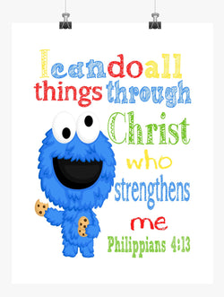 Cookie Monster Sesame Street Christian Nursery Decor Print, I Can Do All Things Through Christ Philippians 4:13