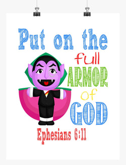 Count Sesame Street Christian Nursery Decor Print, Put on the Full Armor of God, Ephesians 6:11