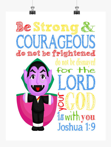 Count Sesame Street Christian Nursery Decor Print, Be Strong & Courageous Joshua 1:9