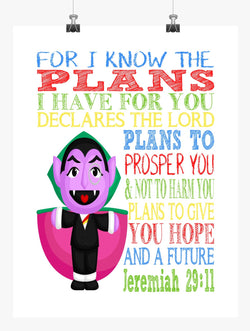 Count Sesame Street Christian Nursery Decor Print, For I Know The Plans I Have For You, Jeremiah 29:11