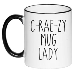 C-Rae-Zy Mug Lady Farmhouse Mug Rae Dunn Inspired Coffee Cup, Gift for Her, Farmhouse Decor, Hot Chocolate, 11 Ounce Ceramic Mug