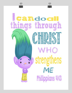 Creek Trolls Christian Nursery Decor Print, I Can Do All Things through Christ Who Strengthens Me Philippians 4:13
