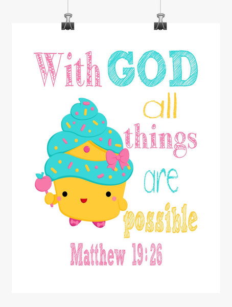 Cupcake Queen Shopkins Christian Nursery Decor Print, With God All Things Are Possible Matthew 19:26