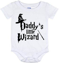 Cute Harry Potter Daddy's Wizard Onesie - all sizes from (New born - 24 months)