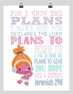 Dj Suki Trolls Christian Nursery Decor Print, For I Know The Plans I Have For You, Jeremiah 29:11