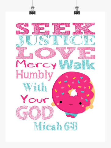 Dlish Donut Shopkins Christian Nursery Decor Print, Seek Justice Love Mercy Micah 6:8