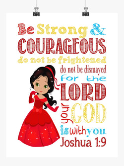 Elena Christian Princess Nursery Decor Print - Be Strong & Courageous Joshua 1:9